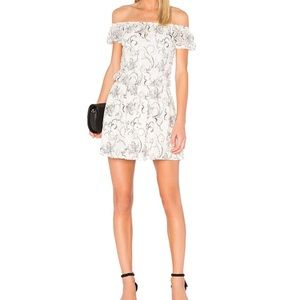 Alice & Olivia white lace embroidered dress